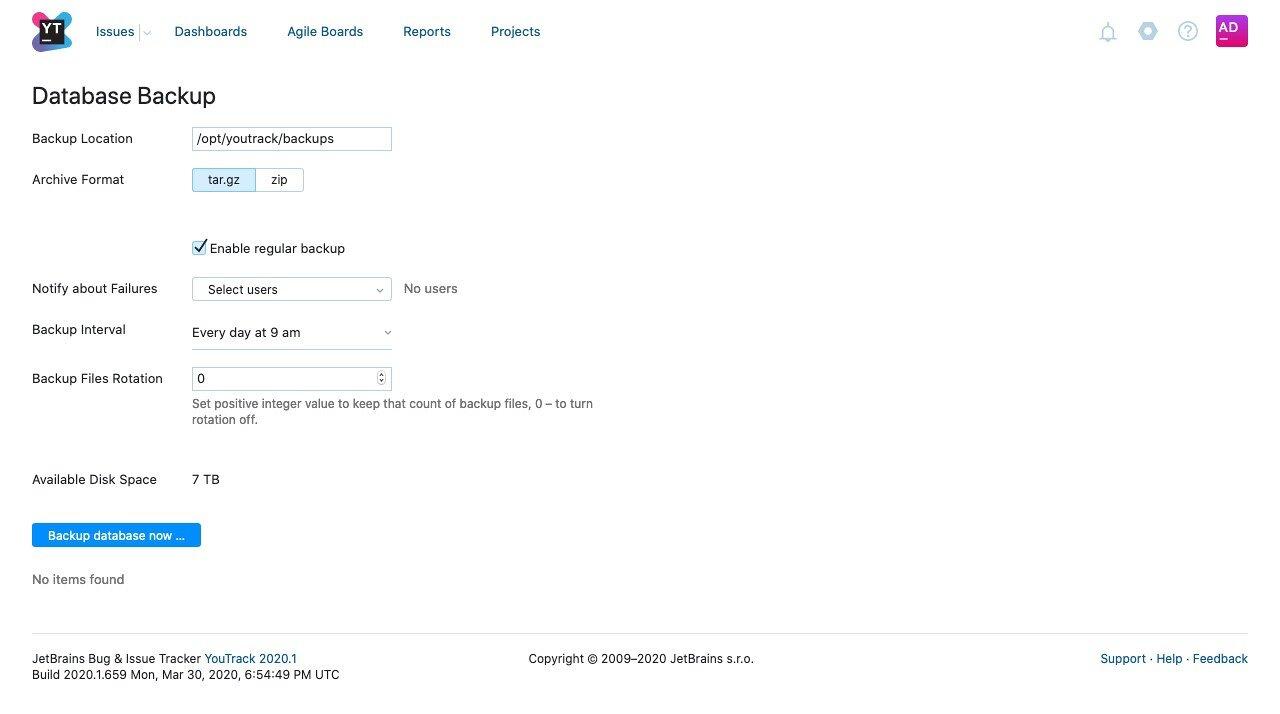 YouTrack database backups configuration