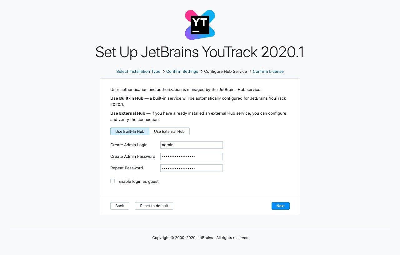 YouTrack setup admin account