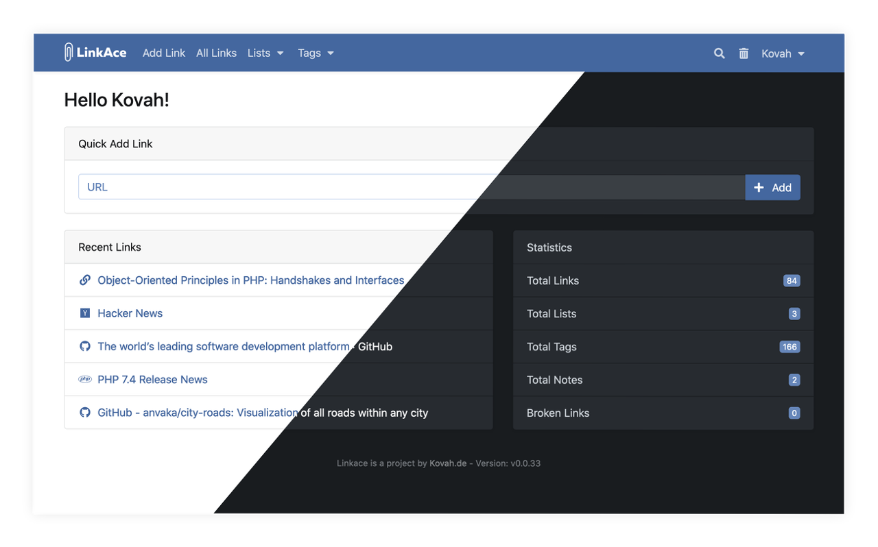 Preview of the LinkAce interface