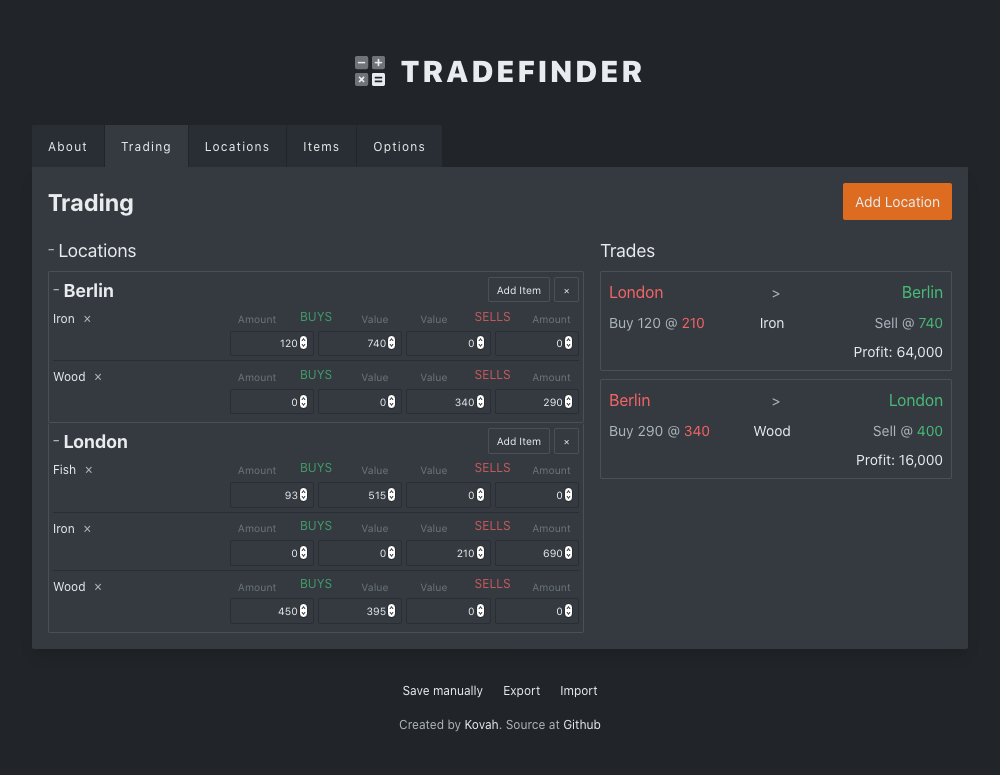 Preview screenshot of the Tradefinder tool
