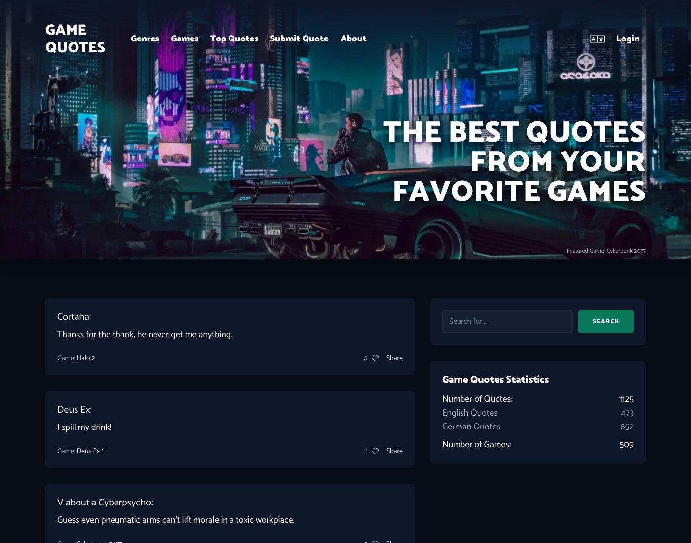Screenshot of the new version of Game Quotes