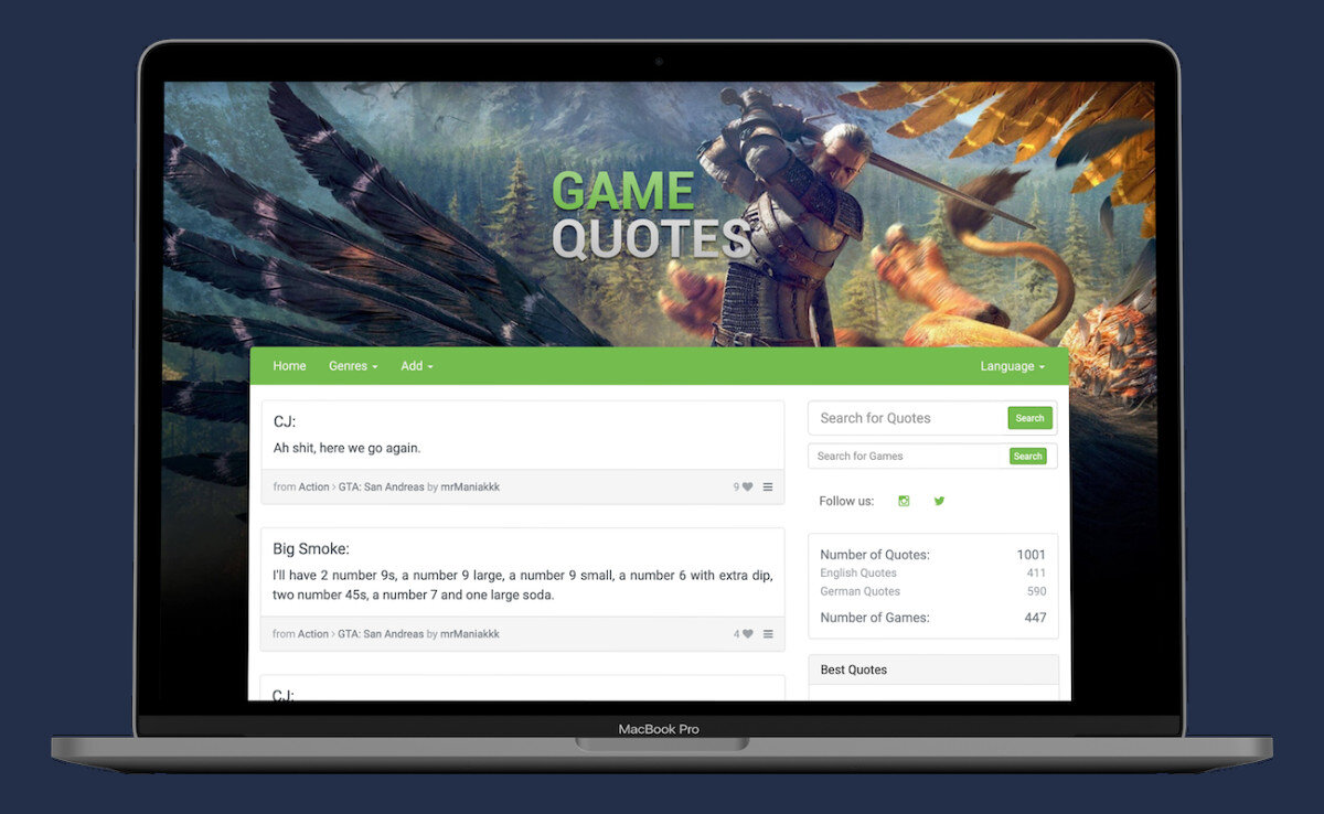 Screenshot of the old version of Game Quotes